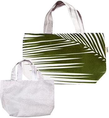 リバーシブルミニトート(緑×グレー)